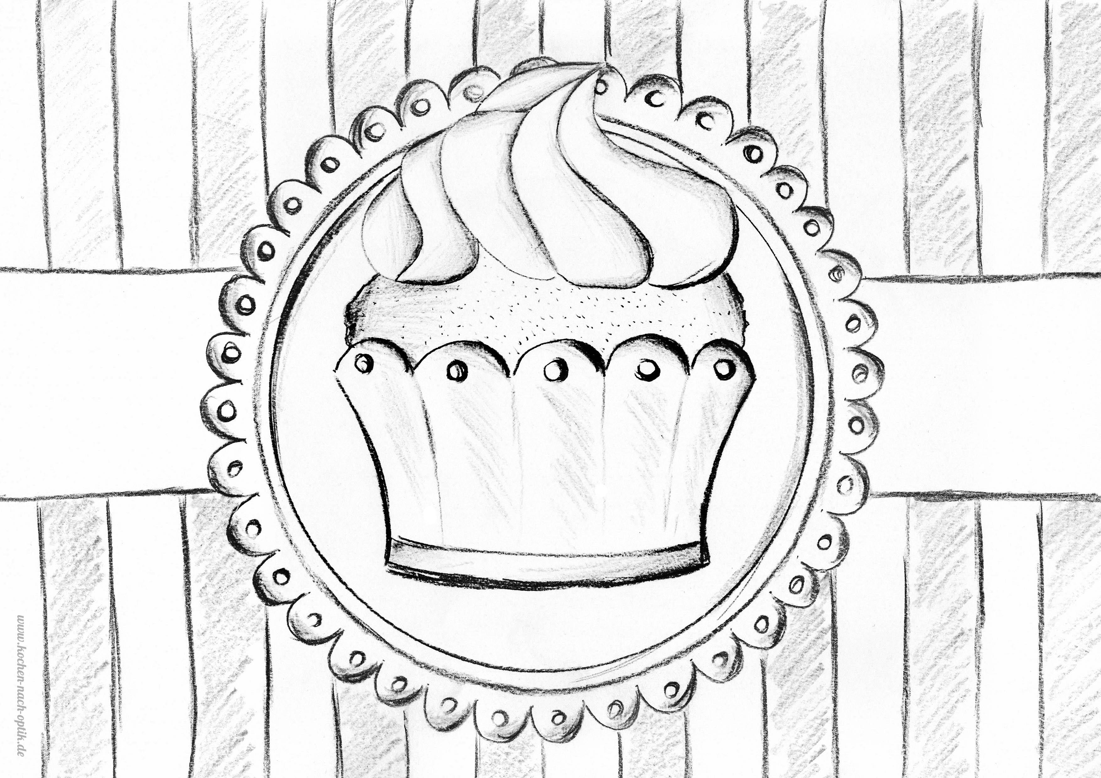 Kochen Nach Optik Vintage Muffin Zum Ausdrucken Ausmalen Für